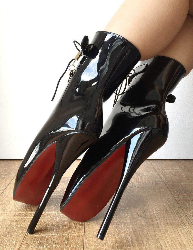 Cm Fetish Lockable Ballet Boots Padlock Contrasting Bottom Sole