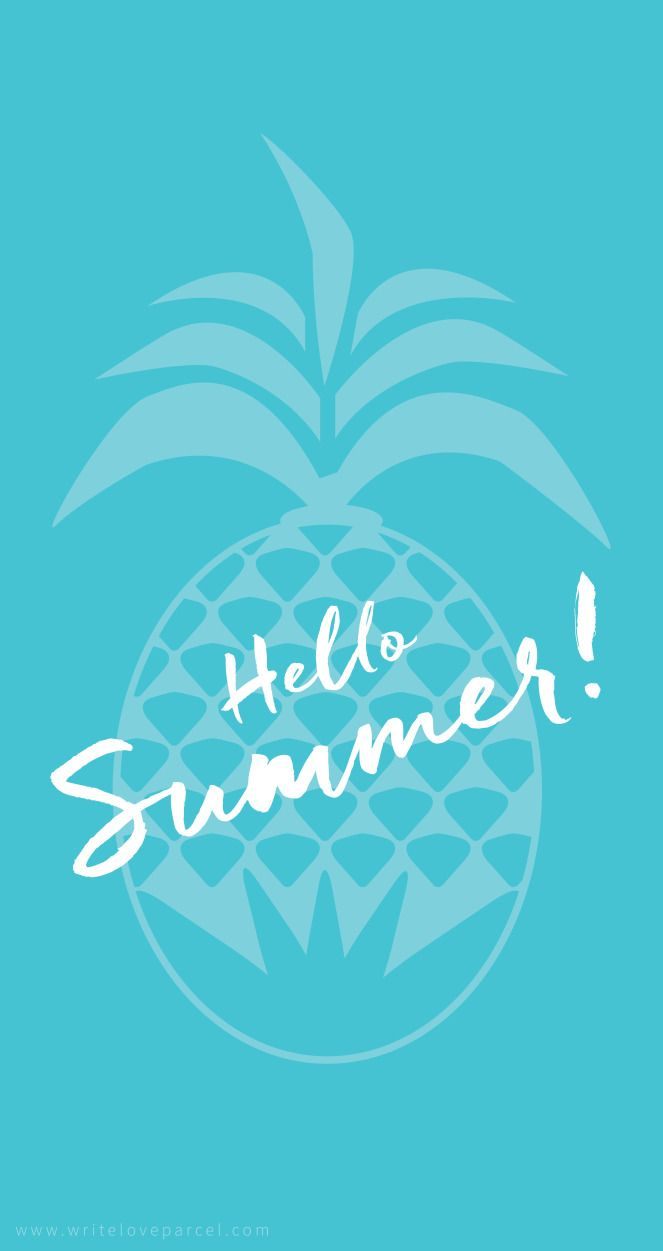 Hello Summer Phone Wallpaper In Teal With Pineapple Design