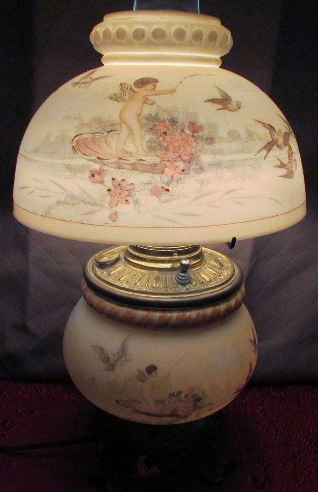 antique oil kero lamp the b u0026h bradley  u0026 hubbard  cherub