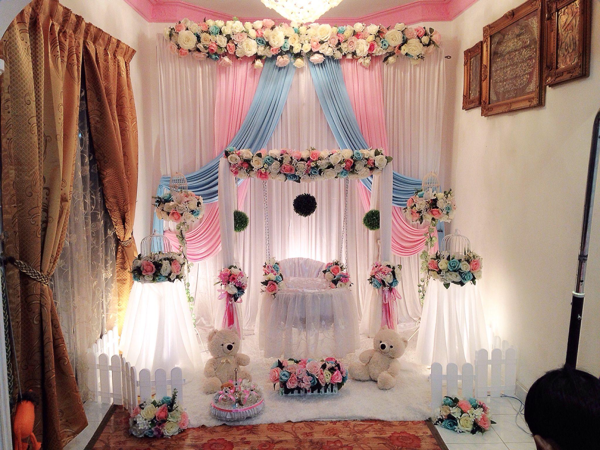 Cradle decoration. See More. Buaian cukur jambul tema english pink dan  tiffany