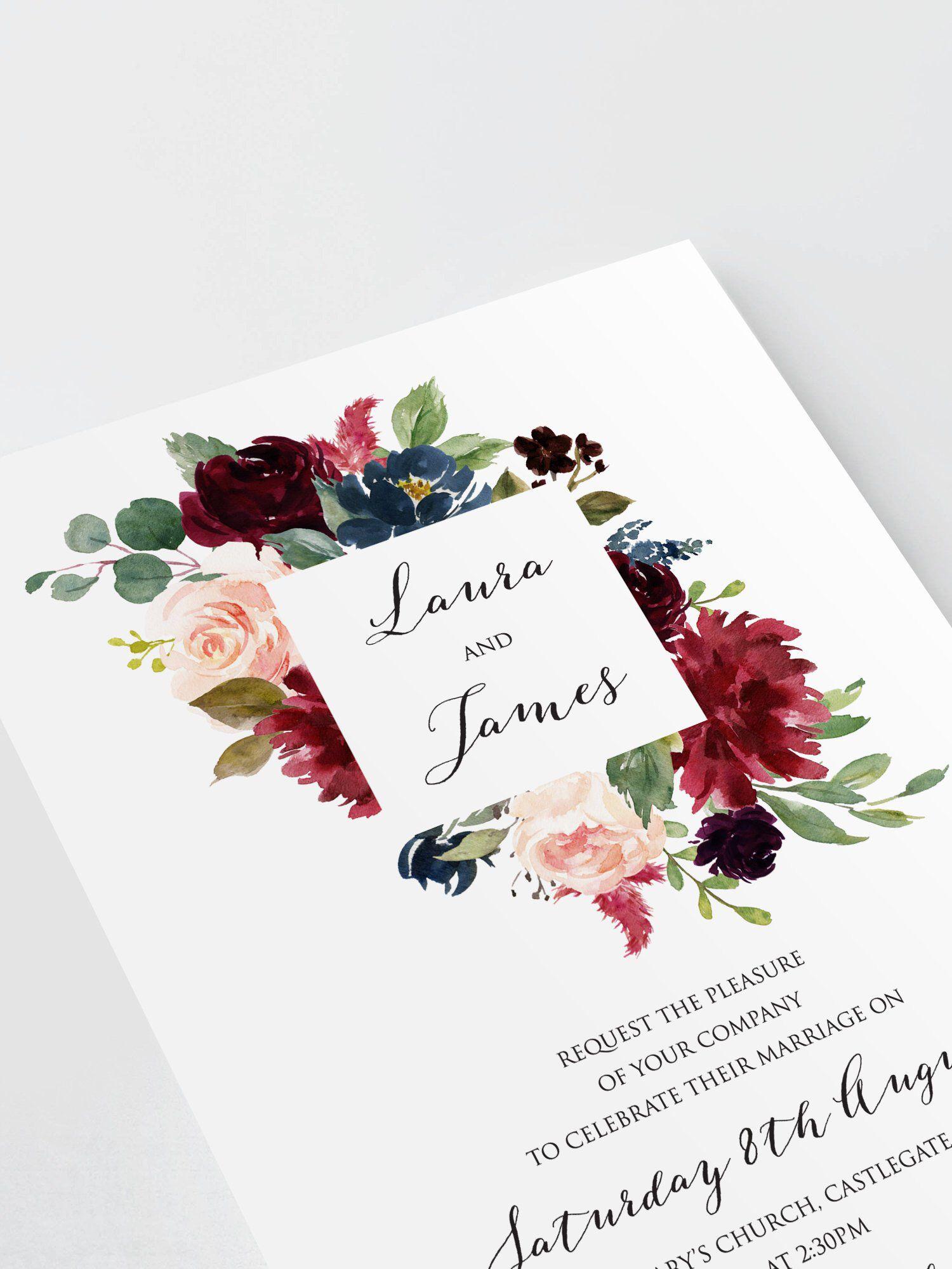 Burgundy Floral Wedding Invitations, Burgundy Navy Invite