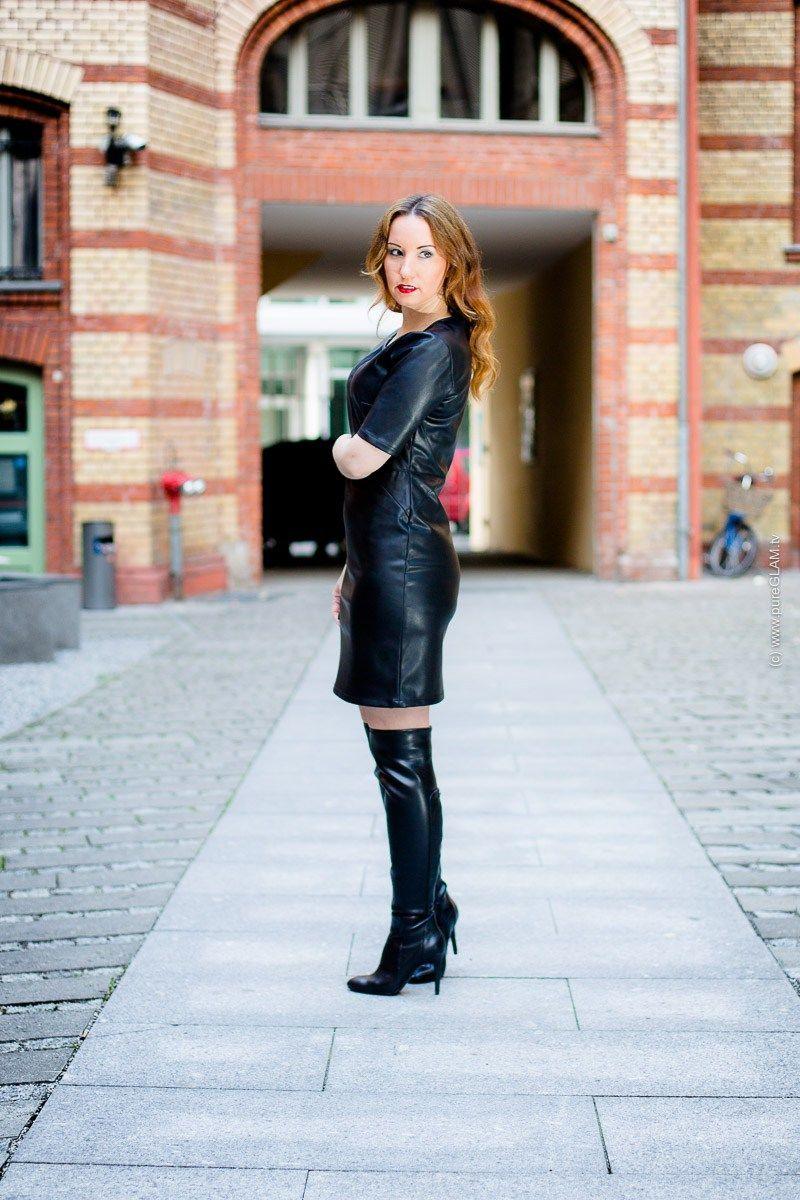 Fashionlook Overknee Lederkleid Mit Herbstlicher Stiefeln Fc3Kl1TJ