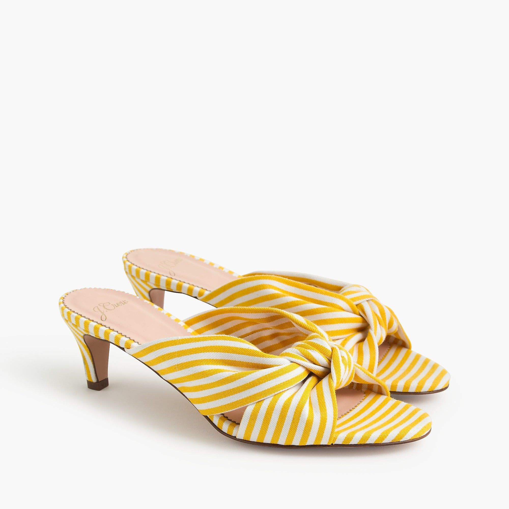 Knotted Kitten Heel Sandals In Stripe For Women Kitten Heel Sandals Kitten Heels Sandals Heels