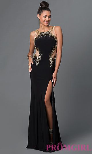 Floor Length Dress with Bead Detailing and Sheer Sides by Elizabeth K  at PromGirl.com