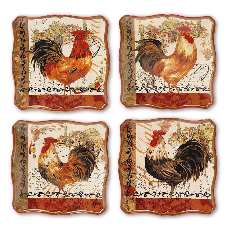 Certified International Tuscan Rooster By Pamela Gladding 4 Pc Square Dinner Plate Set Red Rooster Dinner Plate Sets Plate Sets