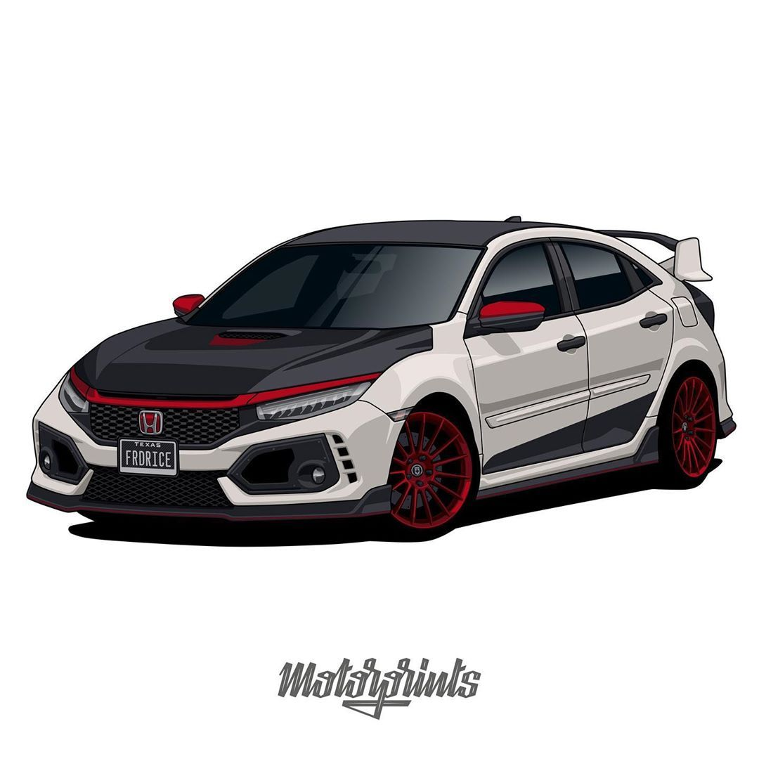 Motorprints On Instagram Honda Civic Type R 2019 Owner Frd Rice Order Illustration Of Your Car Write Me In Direct Message Or Email Cont 車 イラスト 車 イラスト