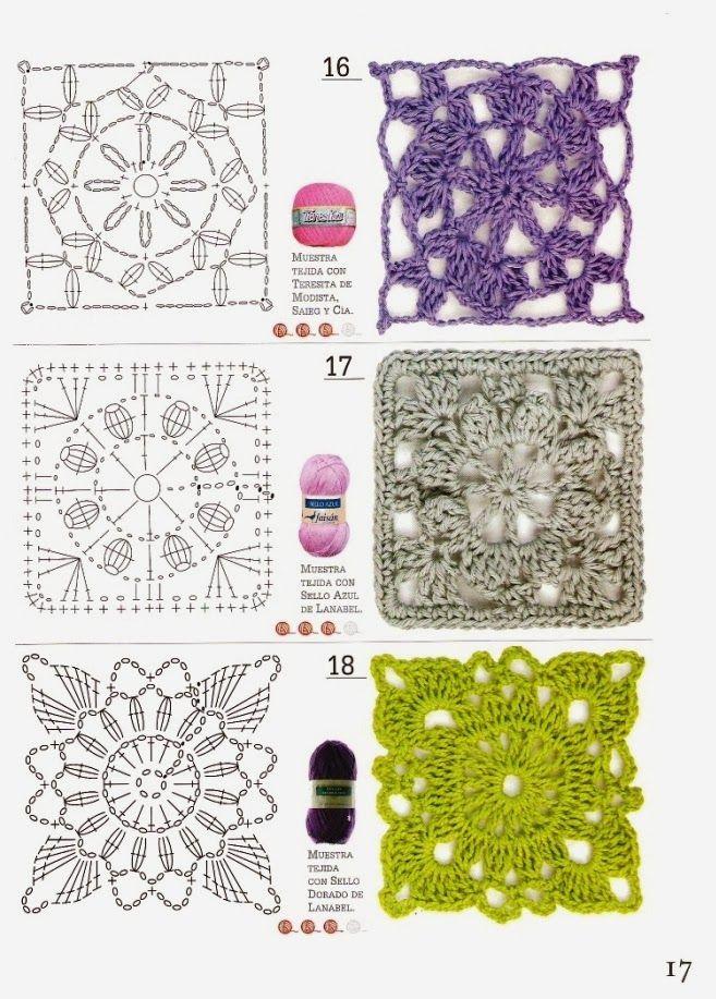 Patrones Crochet: 51 Patrones Cuadrados a Crochet. Revista | crochet ...
