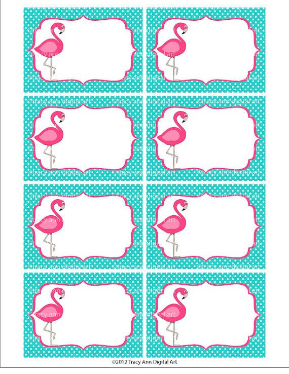 Pink Flamingo Printable Labels Or Buffet Cards Instant