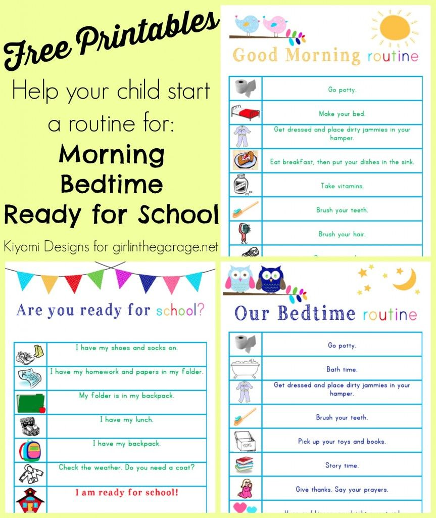 kids morning bedtime and readyforschool free