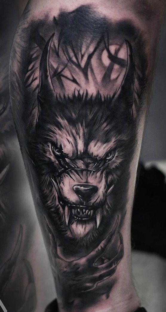 Khail Aitken Werewolf Tattoo Badass Sleeve Tattoos Wolf Tattoo Sleeve