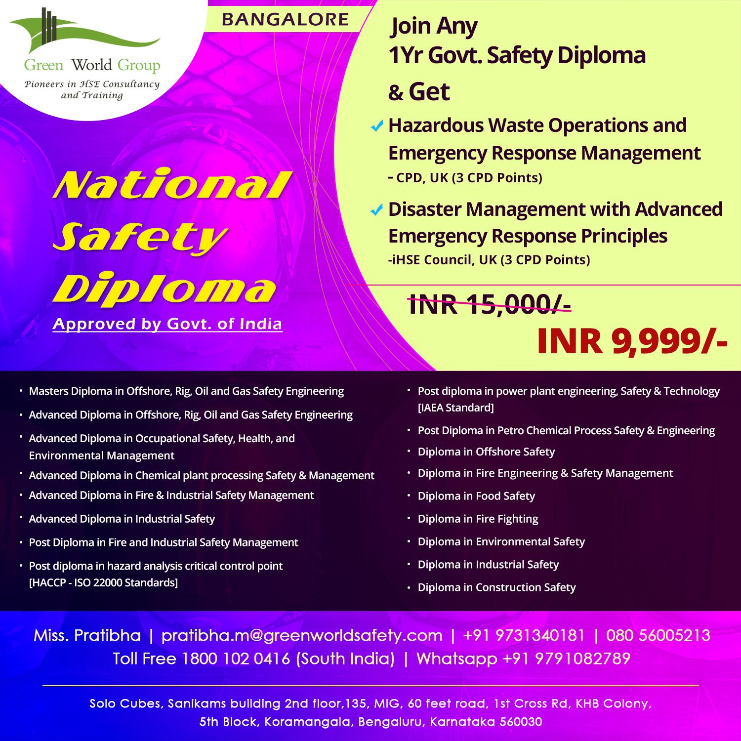 Green World Group offers National Safety Diploma in