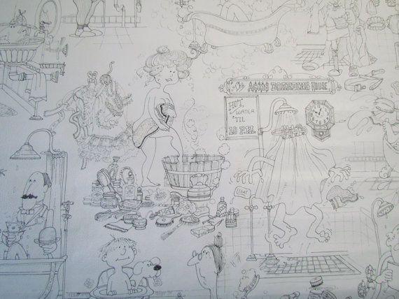 Vintage Mid Century Bath Scene Wallpaper Add It To Your