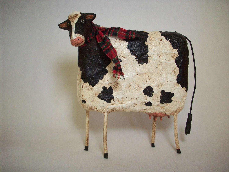Primitive Paper Mache Cow