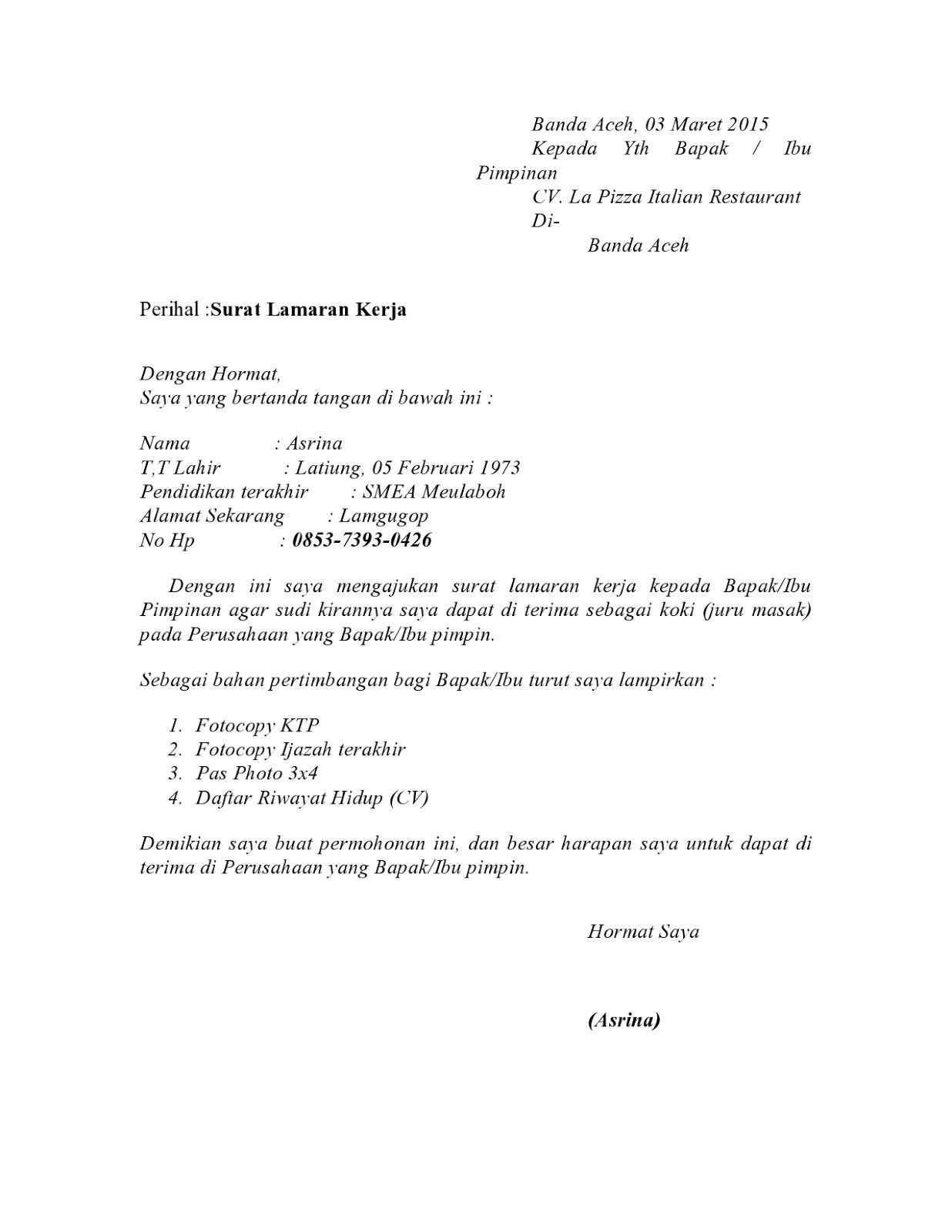 Contoh Surat Lamaran Kerja Di Rumah Makan