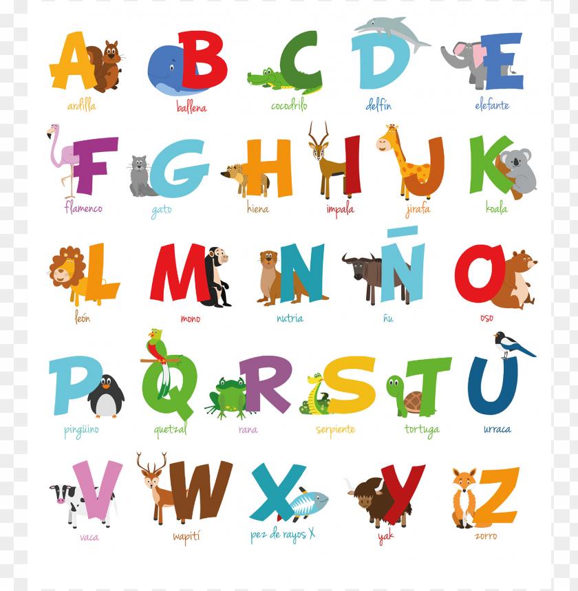 Abecedario Español Animales Imprimir Dibujos Faciles Png Image With Transparent Background Png Free Png Images Spanish Animals Animal Alphabet Alphabet Illustration