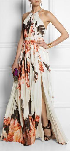roberto cavalli printed silkchiffon gown