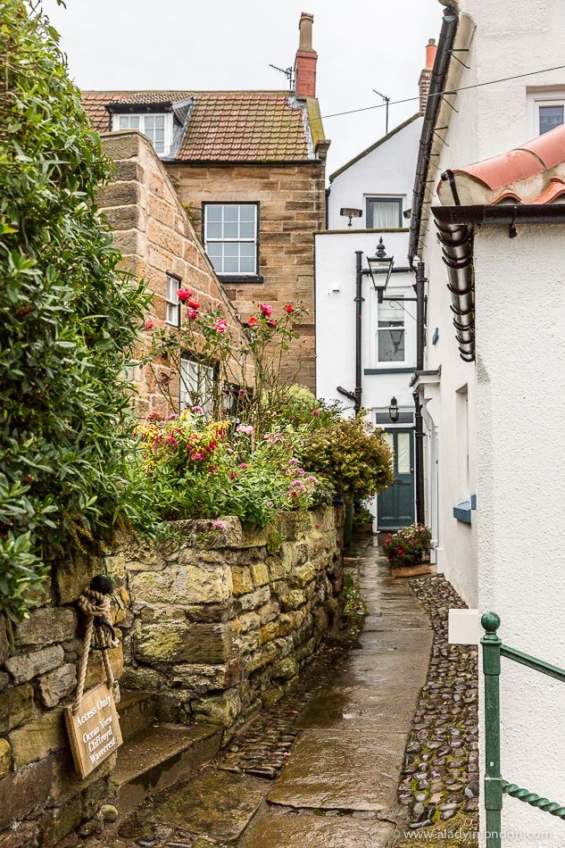 Narrow street in the village of Robin Hood's Bay in Yorkshire, England #robinhoodsbay #yorkshire #england #uk