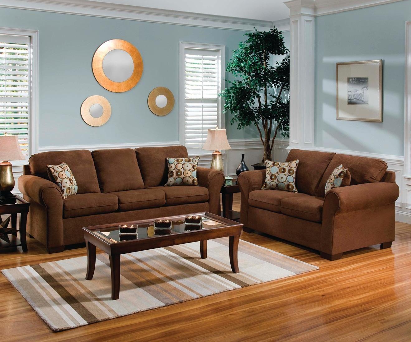 Flat Suede Chocolate Sofa Loveseat Brown Sofa Living Room
