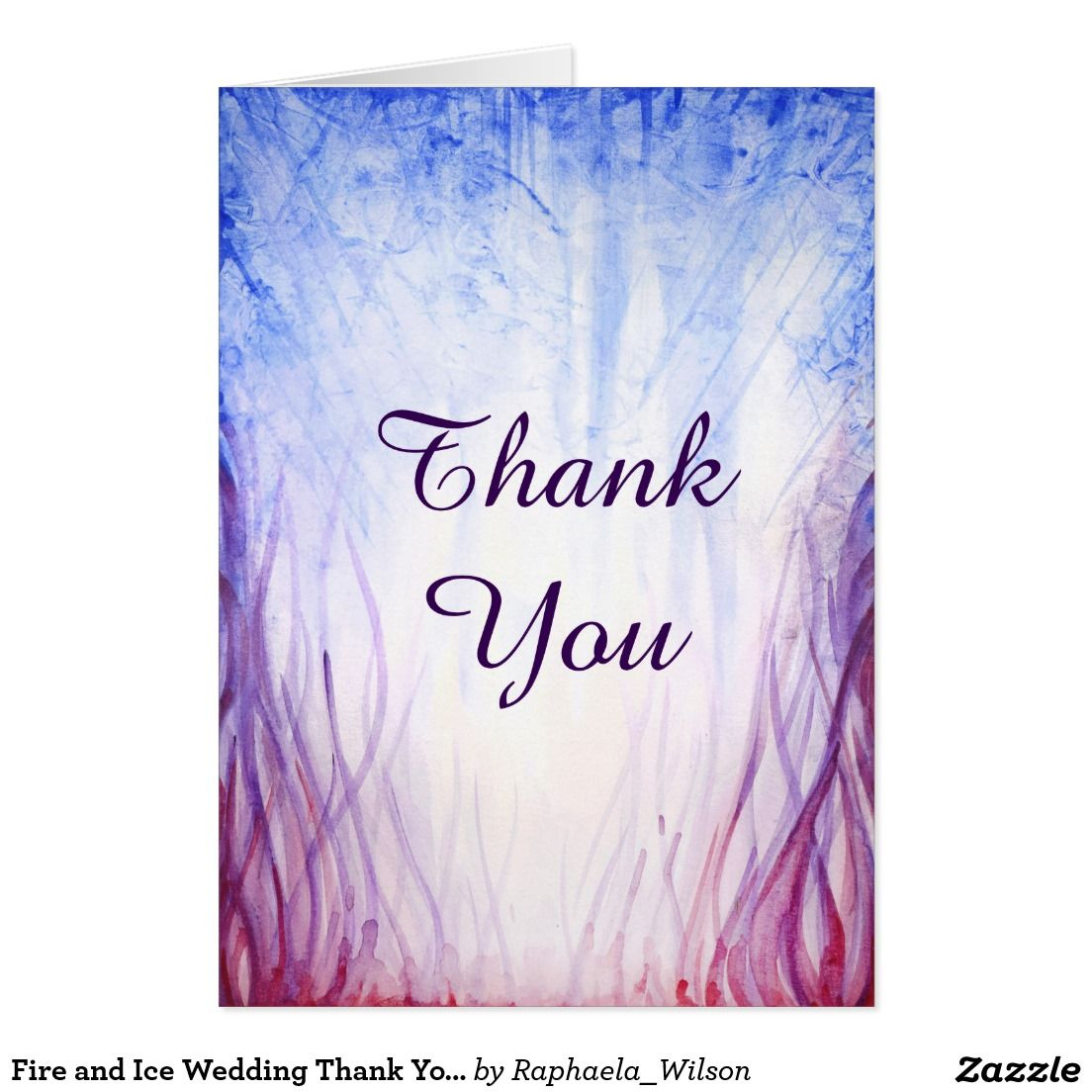 Fire and Ice Wedding Thank You Card Note | Fire and Ice Theme ...