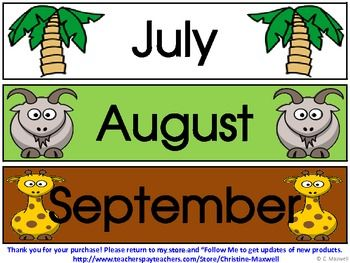 Zoo Jungle And Wild Animals Calendar Pieces Make Monthly Patterns Jungle Theme Classroom Jungle Safari Theme Classroom Safari Theme Classroom