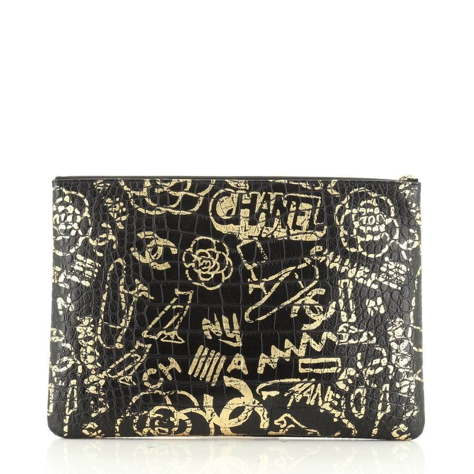 Chanel 2.55 Reissue Graffiti Reissue O Case Crocodile Embossed Calfskin Large Black Gold Prints Leather Clutch
