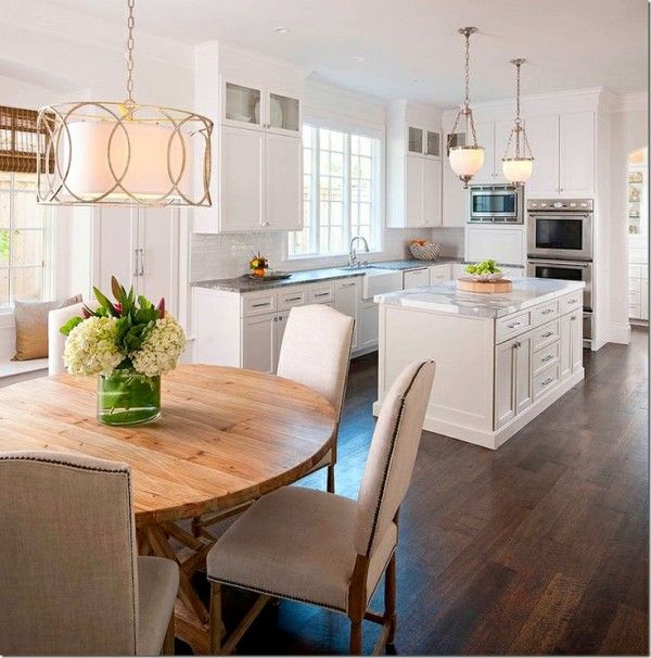 Light Pine Kitchen Cabinets: Drum Lighting Over Kitchen Table With Wooden Countertops