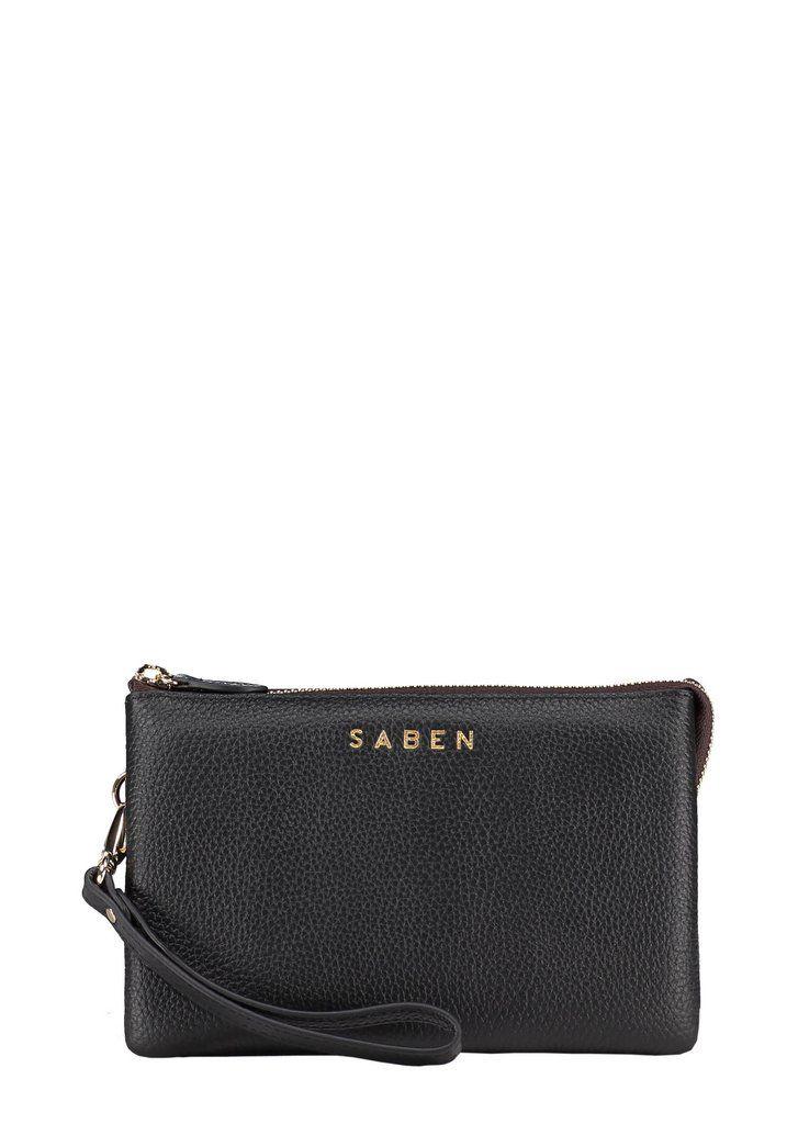 Saben Tilly Black Leather Handbag Wallet Clutch New Zealand