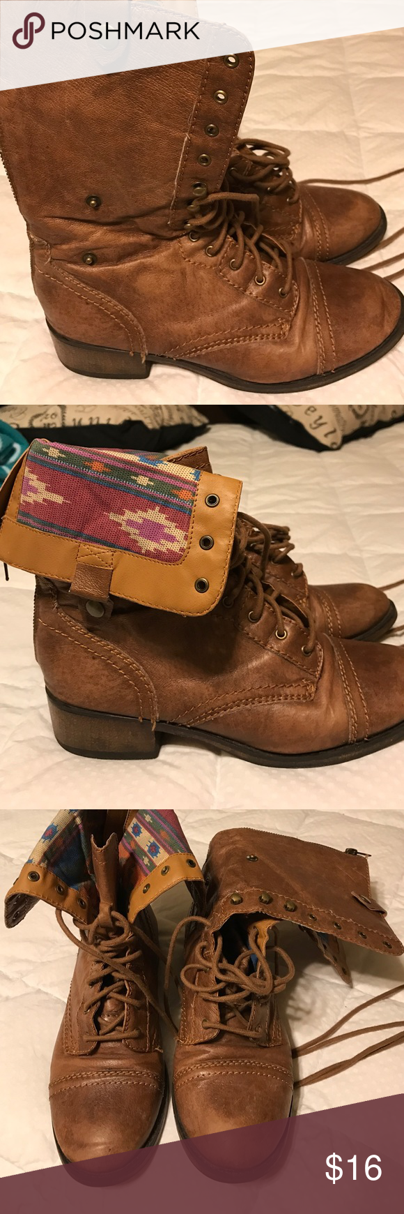 Steve Madden boots Lace up brown leather boots, combat style, can be worn up or cuffs turned out for bootie style. Aztec print inside. Some wear but in great condition. Bought on Poshmark but too small. She said size 10 but I'm sure they are a 9 or 9.5. Cannot find any marking on size. Steve Madden Shoes Combat & Moto Boots