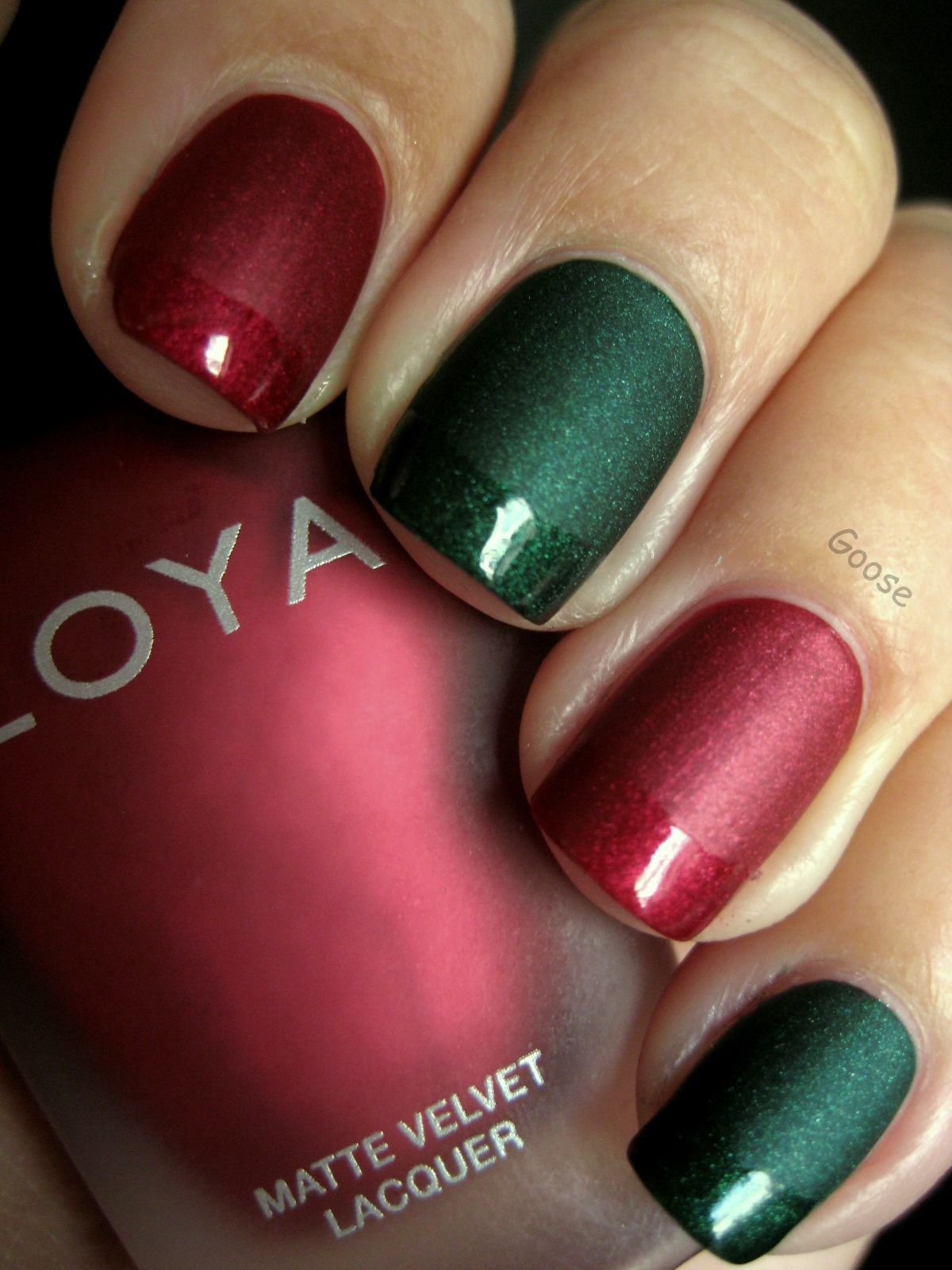 matte red and green christmas nails with gloss french tip