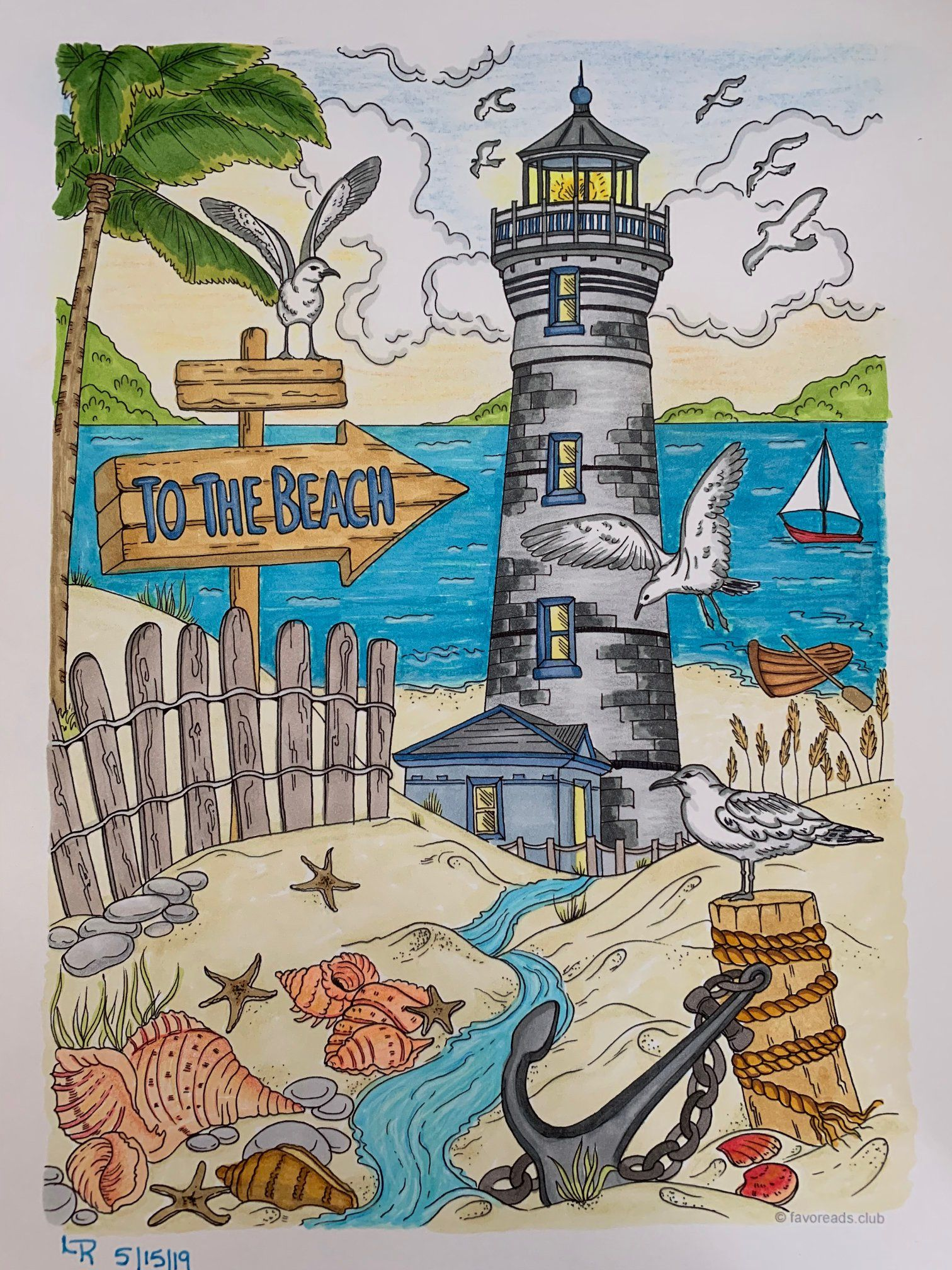 To the Beach   Adult coloring, Printable adult coloring ...
