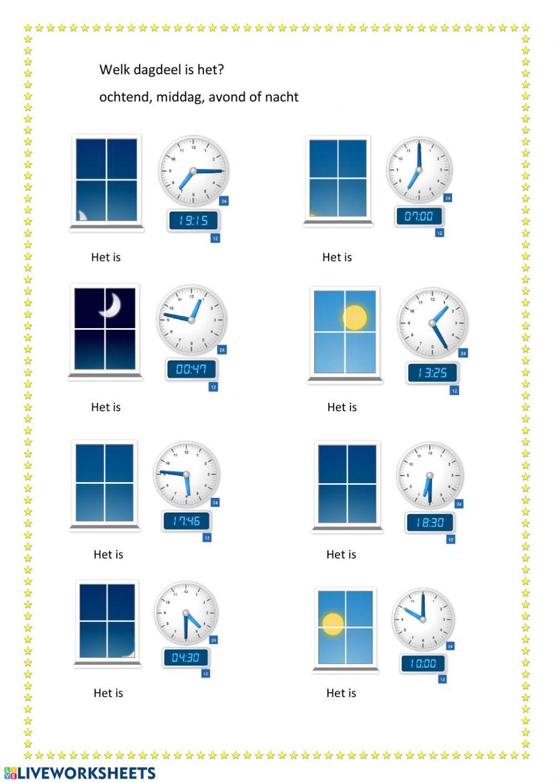 Dagdelen Interactive Worksheet Learn Dutch Worksheets Videos Tutorial [ 1413 x 1000 Pixel ]