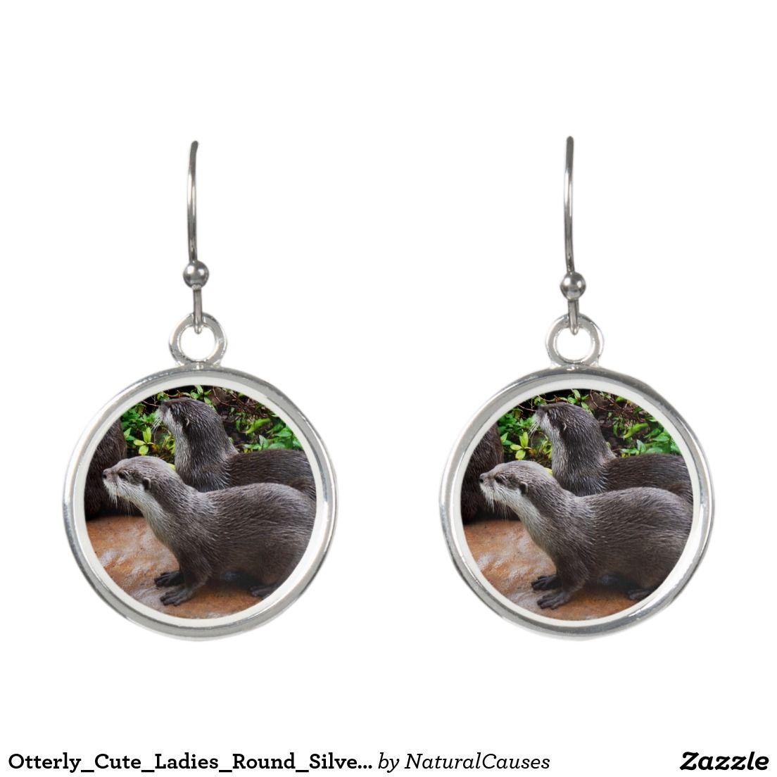 Otterly_Cute_Ladies_Round_Silver_Otter_Earrings. Earrings