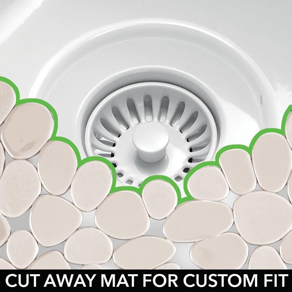 Large Adjustable Kitchen Sink Protector Mat In Pebble Design