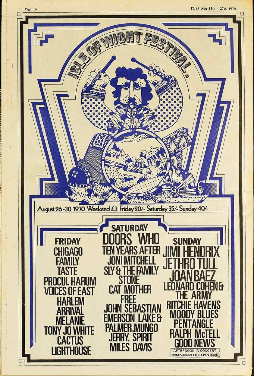 Isle Of Wight Festival 1970 Music Festival Poster Rock Poster Art Vintage Concert Posters