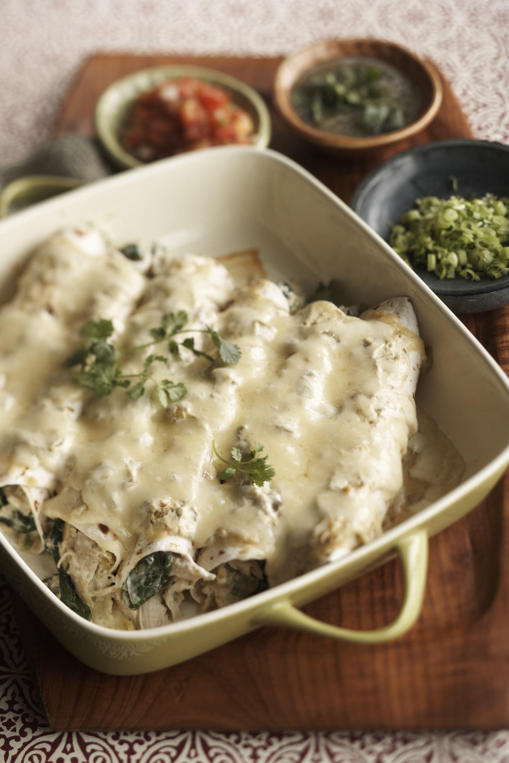 Creamy Chicken Enchiladas #comfortfood #mexican