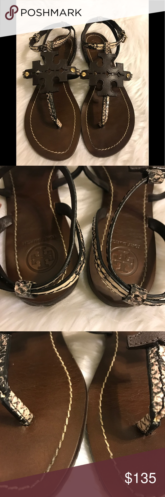 1c3ec81c0 Tory Burch Phoebe Snake- Embossed Flat Sandals Tory Burch brown phoebe  sandals used but still