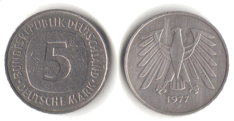 5 D Mark Munze Von 1975 Bis 2001 Vorderseite Links Ruckseite