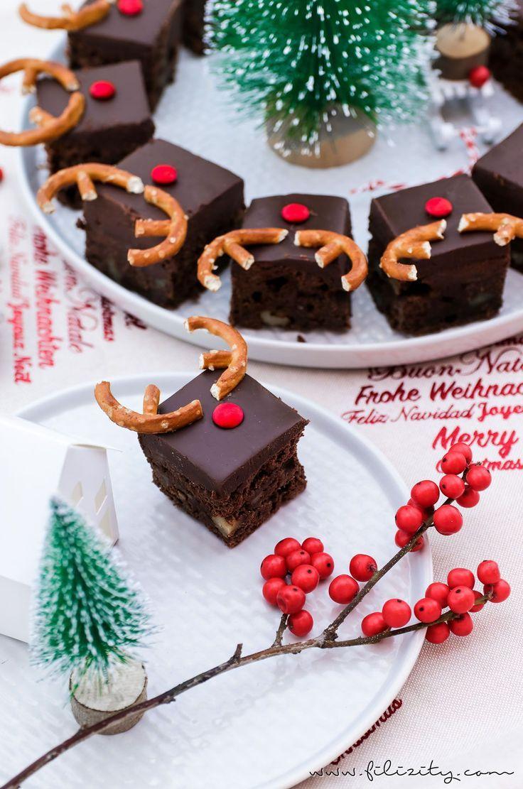 Rudolph Brownies - lustiger Weihnachts-Kuchen | Filizity.com | Food-Blog aus dem Rheinland