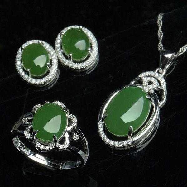 7ae7ea53c919 Jade natural y nefrita pendientes pendientes de jade conjunto 925 anillo de  plata esterlina conjunto con tres piezas de joyería de la boda