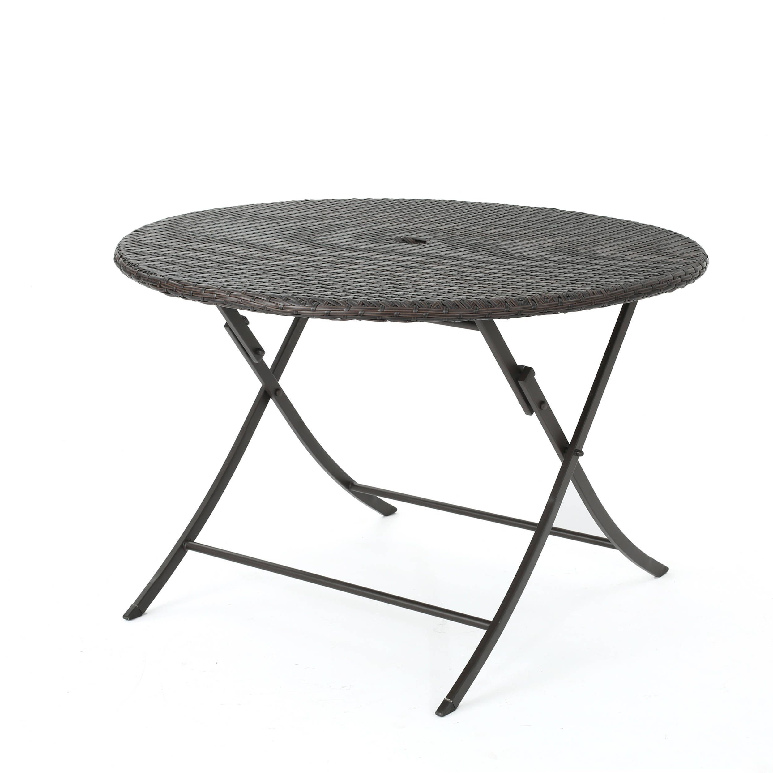 Riad Outdoor Wicker Round Foldable Dining Table with Unbrella ...