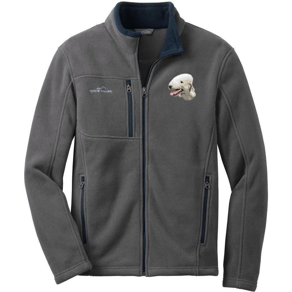 Bedlington terrier embroidered mens fleece jackets menus jackets