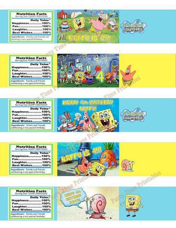 Spongebob Water Bottle Label Custom Squarepants Birthday Party Personalized Invites DIY