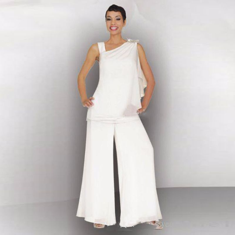 Mother Of The Bride Groom Pant Suit Ruched Crystal Plus Size White ...