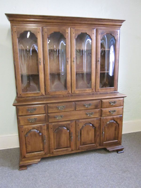Temple Stuart Rockingham Bubble Glass Maple Breakfront Do Overs China Cabinet Cabinet