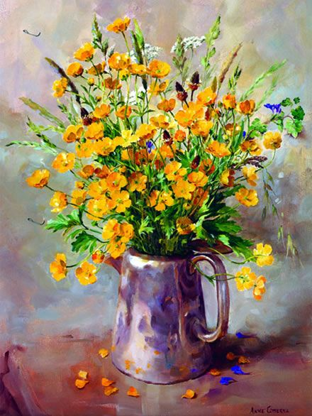 Buttercups in a Silver Coffee Pot - Limited Edition Print | Mill House Fine Art – Publishers of Anne Cotterill Flower Art