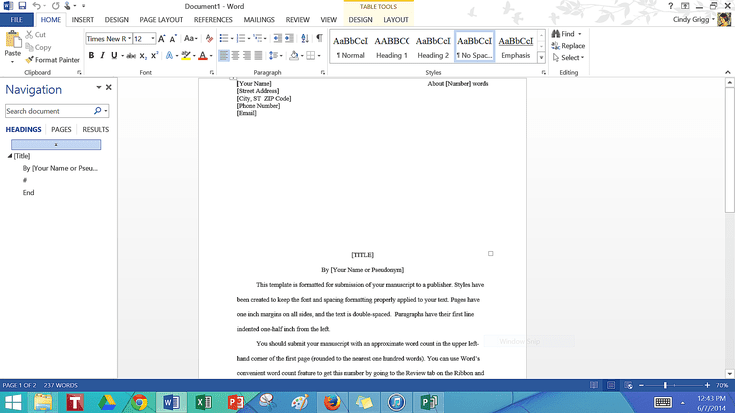 microsoft word novel template