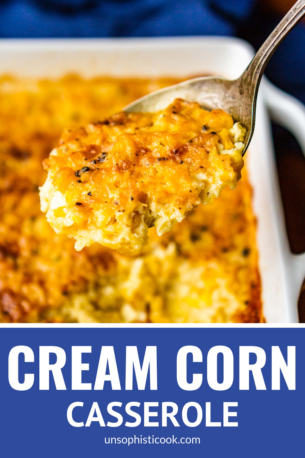 Corn Casserole Recipe -- This cream corn casserole recipe is SO good you'll want to scrape the dish completely clean to get every last bit of caramelized goodness from the corners... My favorite of all the corn casserole recipes I've tried, just like my grandma made it!   baked corn casserole   sweet corn casserole   baked creamed corn casserole   corn casserole recipes   easy corn casserole   custard corn   corn pudding   corn souffle #sidedishes #comfortfood #potluck #thanksgiving #christmas