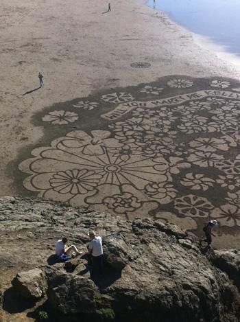 sand written proposal by Andres Amador at Ocean Beach, San Francisco