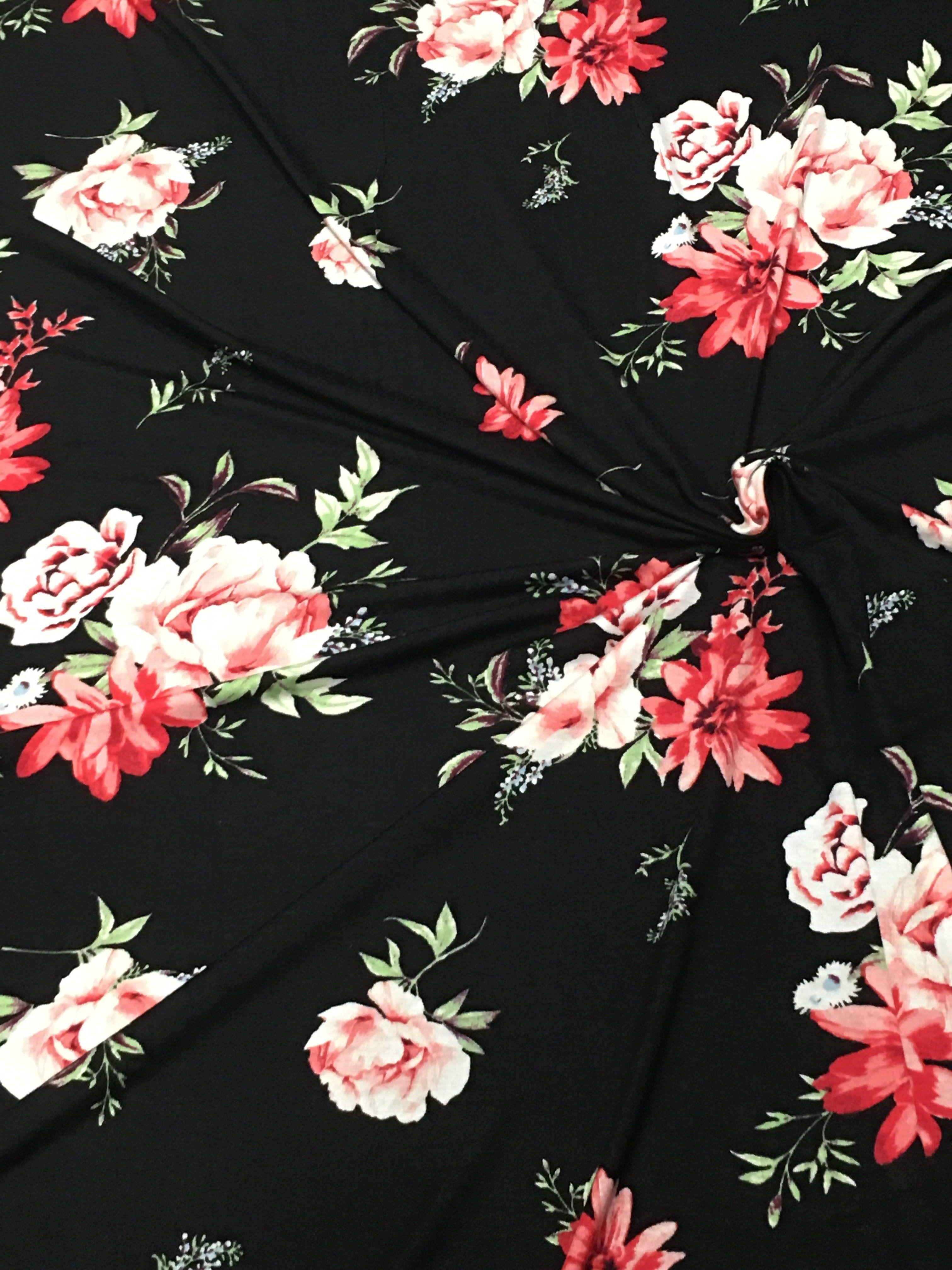 Knitpop — New Black Holland Floral Rayon Spandex