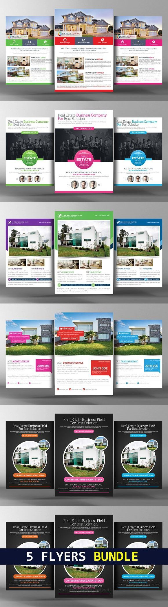 5 simple real estate flyers bundle flyer templates pinterest